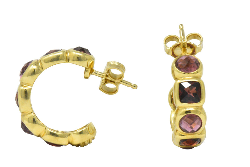 David Yurman Garnet Tourmaline 18 Karat Gold Earrings Earrings