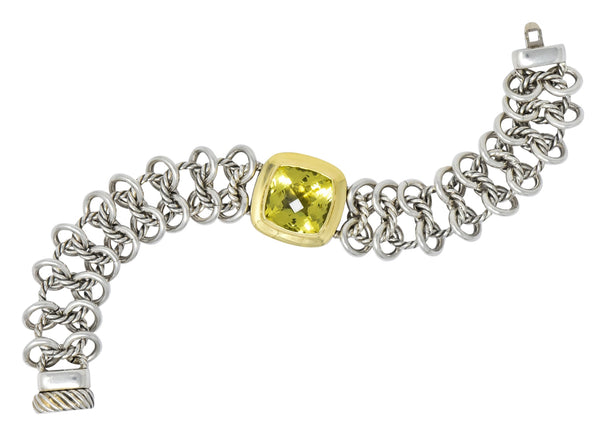 David Yurman Green Quartz Sterling Silver 18 Karat Gold Woven Link Chain Bracelet - Wilson's Estate Jewelry