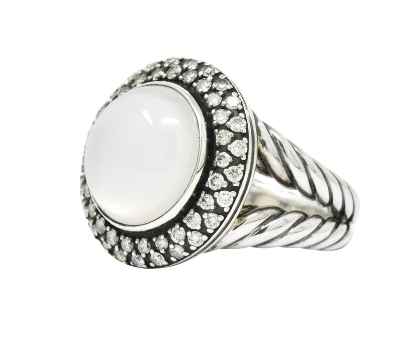 David Yurman Moonstone Mother Of Pearl .65 CTW Diamond Cable Twist Sterling Silver Ring - Wilson's Estate Jewelry