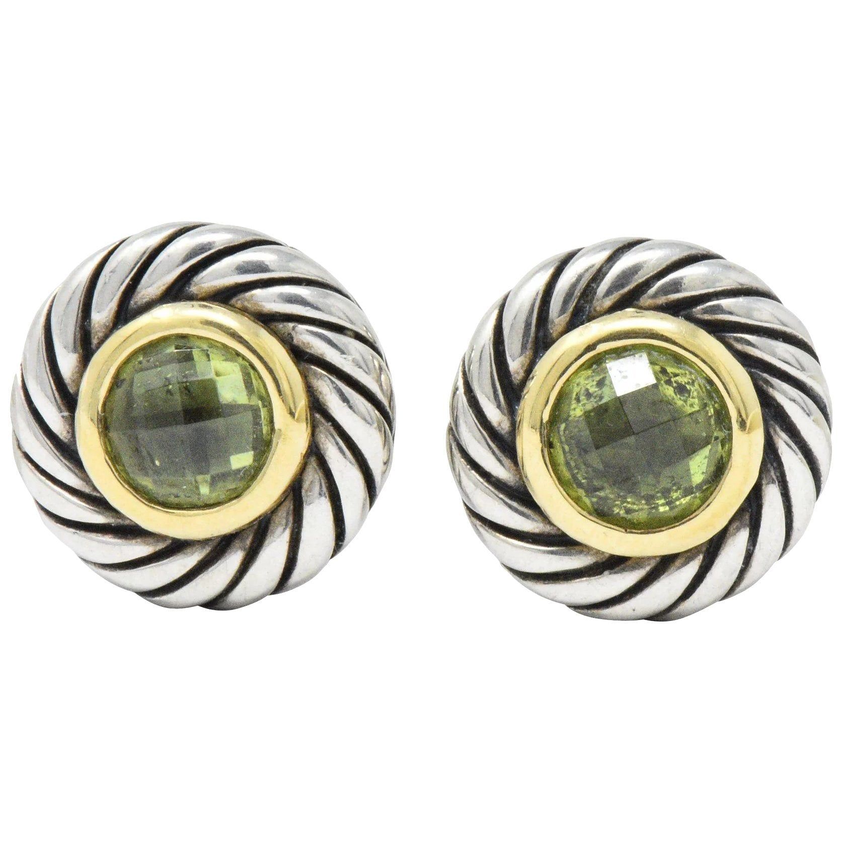 4842c0574 David Yurman Peridot 18 Karat Gold Sterling Silver Cookie Earrings Earrings  ...