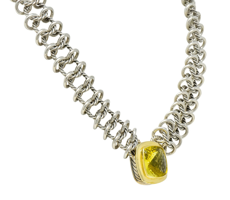David Yurman Quartz 18 Karat Gold Woven Sterling Silver Link Chain Necklace - Wilson's Estate Jewelry