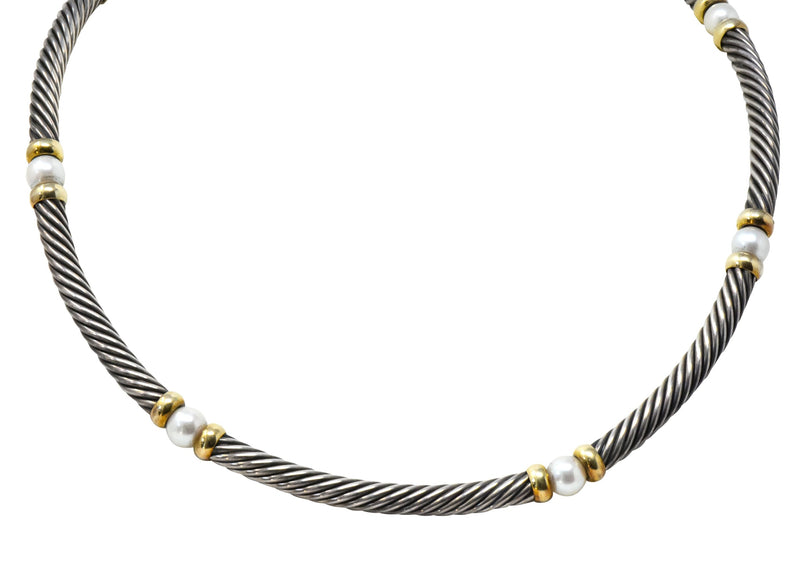 David Yurman Round Pearl Sterling Silver 14 Karat Gold Hampton Cable Necklace - Wilson's Estate Jewelry