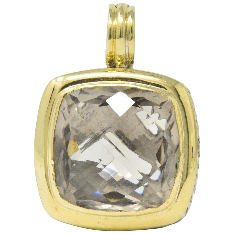 David Yurman Smoky Quartz Sterling Silver 18 Karat Gold Pendant Necklace