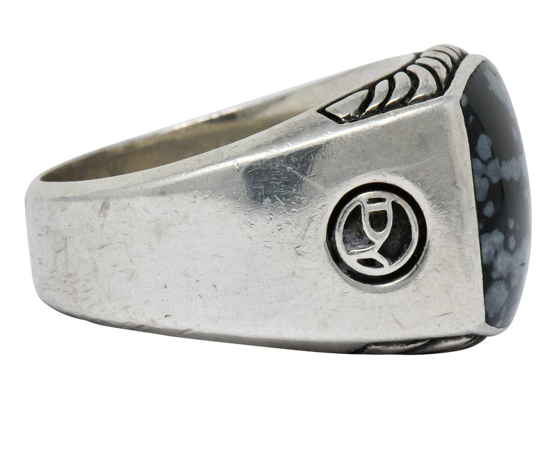 David Yurman Snowflake Obsidian Sterling Silver Men's Exotic Stone Ring - Wilson's Estate Jewelry