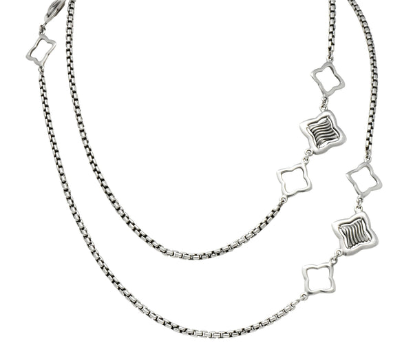 David Yurman Sterling Silver 18 Karat Gold Long Quatrefoil Chain Necklace - Wilson's Estate Jewelry