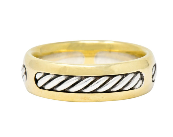 David Yurman Sterling Silver 18 Karat Two-Tone Gold Mens Band Ring Ring