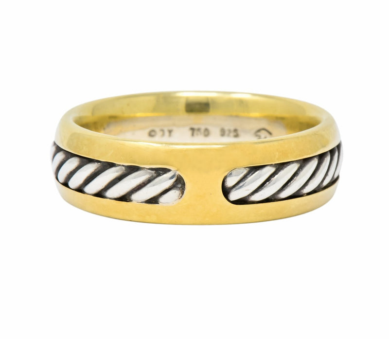 David Yurman Sterling Silver 18 Karat Two-Tone Gold Men's Band Ring - Wilson's Estate Jewelry