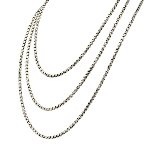 David Yurman Sterling Silver 60 Inch Box Chain Necklace Necklace Contemporary david yurman out-of-stock signed