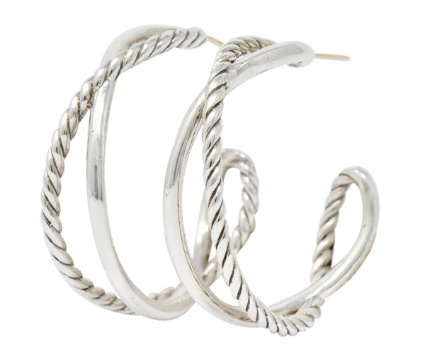 David Yurman Sterling Silver Twisted Cable Hoop Earrings Earrings Contemporary David Yurman signed