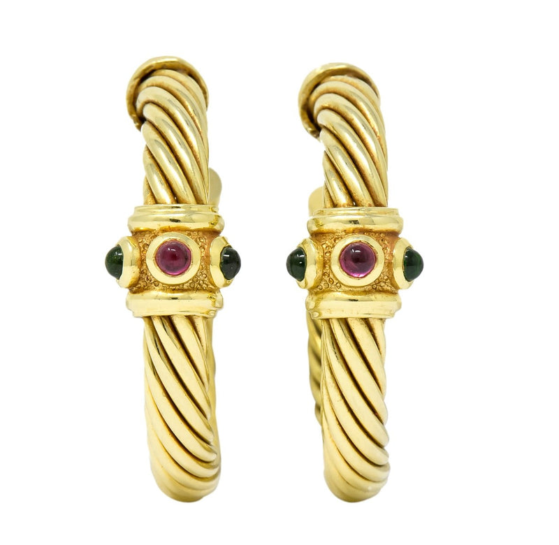 David Yurman Tourmaline Rhodolite Garnet 14 Karat Yellow Gold Hoop Earrings Earrings