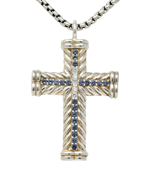 David Yurman Unisex 1.00 CTW Diamond Topaz Sterling Silver Chevron Cross Pendant Necklace Necklace