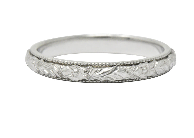 Delightful Art Deco Platinum Wedding Band Stack Ring - Wilson's Estate Jewelry