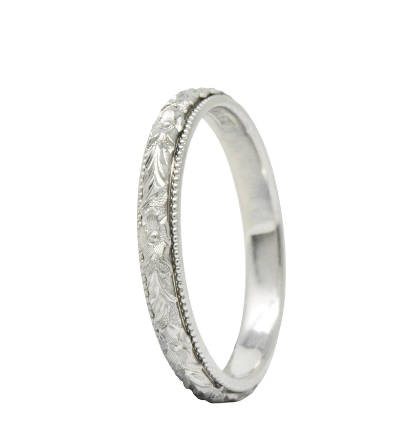 Delightful Art Deco Platinum Wedding Band Stack Ring Ring