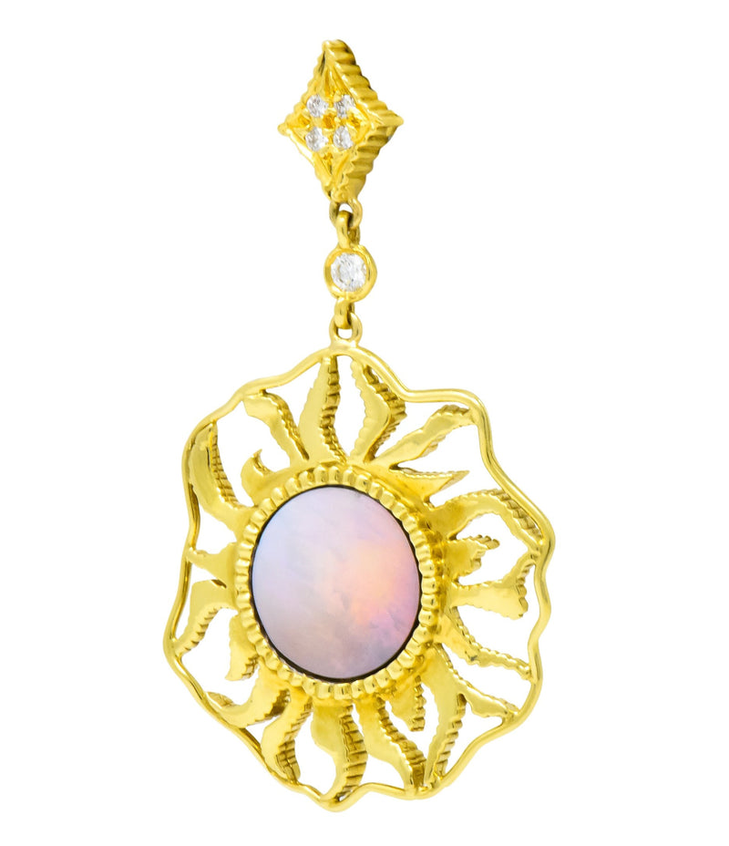 Doris Panos Diamond Mother-Of-Pearl 18 Karat Gold Sunburst Drop Earrings - Wilson's Estate Jewelry
