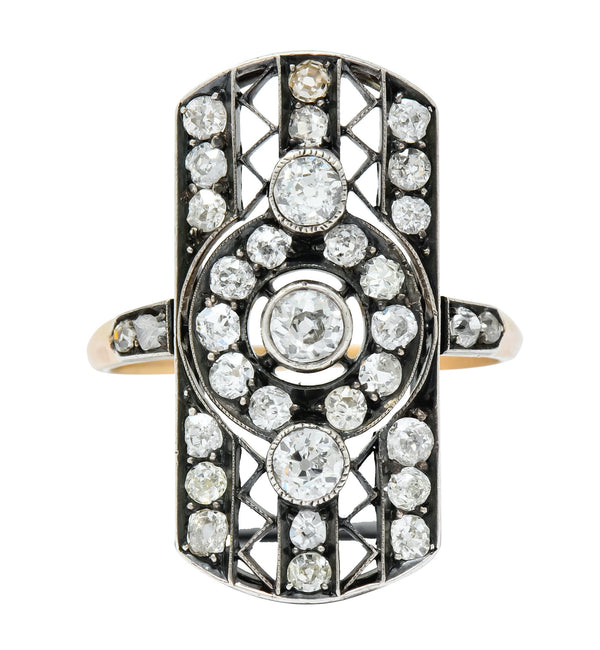 Early Victorian 1.98 CTW Diamond Silver-Topped 14 Karat Gold Dinner Ring - Wilson's Estate Jewelry