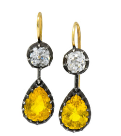 Early Victorian 1840's 5.30 CTW Sapphire Diamond Silver Gold Drop Earrings - Wilson's Estate Jewelry