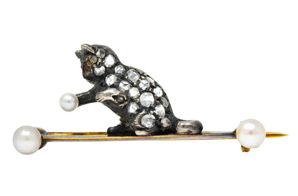 Early Victorian Diamond Pearl Silver-Topped 18 Karat Gold Cat / Kitten Brooch Brooch out-of-stock Victorian