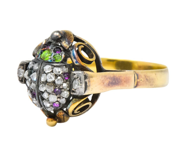 Early Victorian Diamond Ruby Demantoid Garnet Silver-Topped 14 Karat Gold Beetle Ring - Wilson's Estate Jewelry