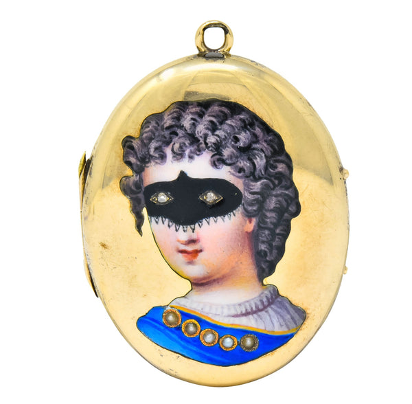 Early Victorian Enamel Rose Cut Diamond 14 Karat Gold Masquerade Mourning Locket Pendant Necklace