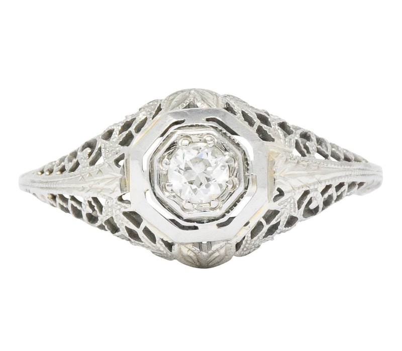 Edwardian 0.30 CTW Diamond 14 Karat White Gold Engagement Ring - Wilson's Estate Jewelry
