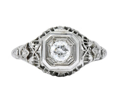 Edwardian 0.32 CTW Diamond 18 Karat White Gold Engagement Ring - Wilson's Estate Jewelry