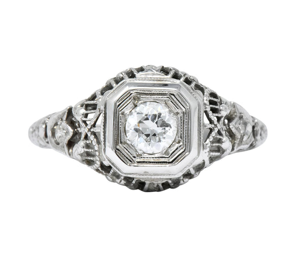 Edwardian 0.32 CTW Diamond 18 Karat White Gold Engagement Ring Ring