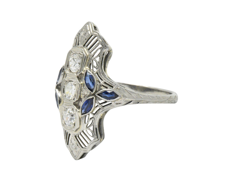Edwardian 0.35 CTW Diamond Synthetic Sapphire 18 Karat White Gold Dinner Ring - Wilson's Estate Jewelry