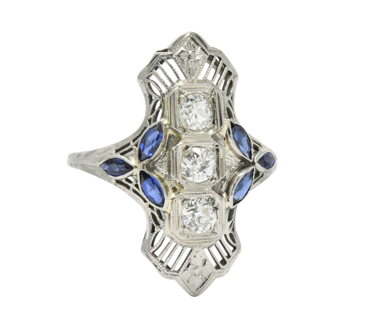 Edwardian 0.35 CTW Diamond Synthetic Sapphire & 18K White Gold Dinner Ring Ring