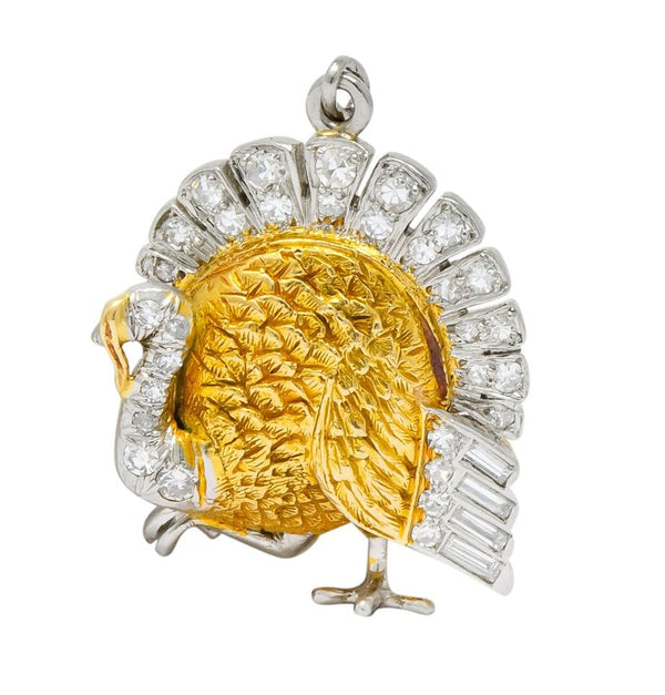 Edwardian 0.38 CTW Diamond 18 Karat Gold Platinum Turkey Charm charm