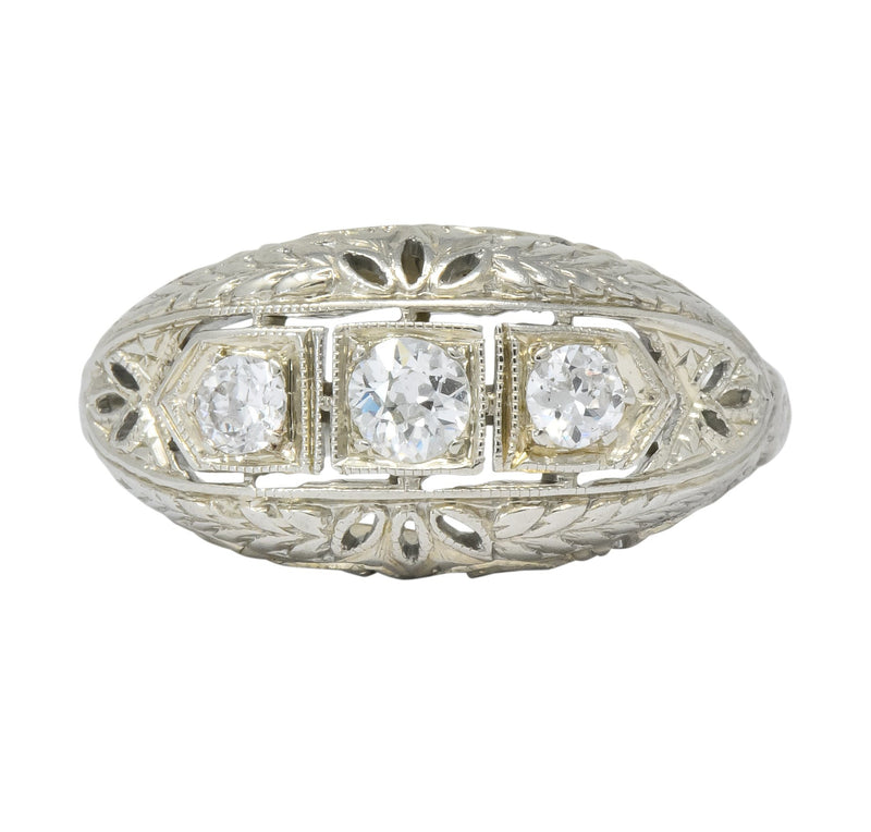 Edwardian 0.40 CTW Diamond 18 Karat White Gold Engagement Ring