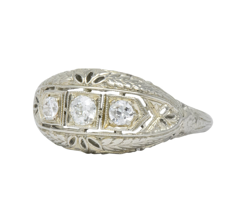 Edwardian 0.40 CTW Diamond 18 Karat White Gold Engagement Ring - Wilson's Estate Jewelry