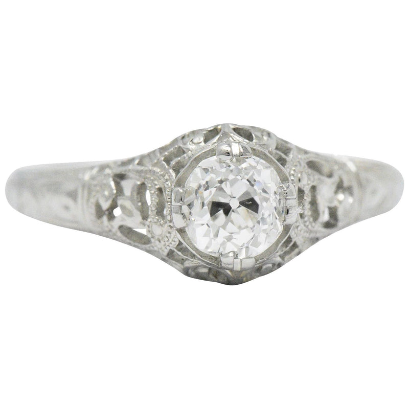 Edwardian 0.50 CTW Old Mine Diamond 18 Karat White Gold Tulip Flower Engagement Ring GIA - Wilson's Estate Jewelry