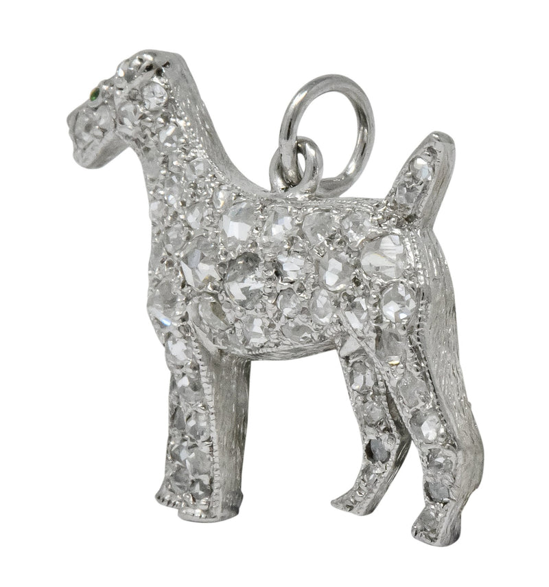 Edwardian 0.50 CTW Diamond Platinum Airedale Terrier Dog Charm - Wilson's Estate Jewelry
