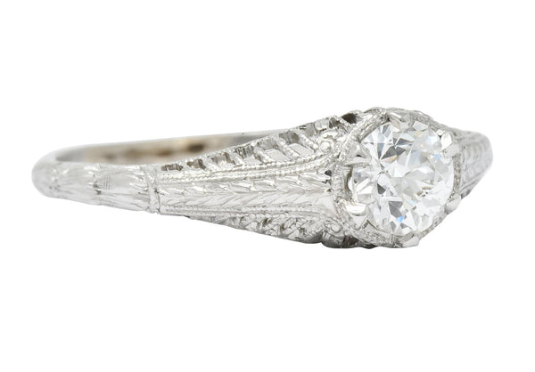 Edwardian 0.50 CTW Diamond Platinum Engagement Ring Circa 1915 - Wilson's Estate Jewelry