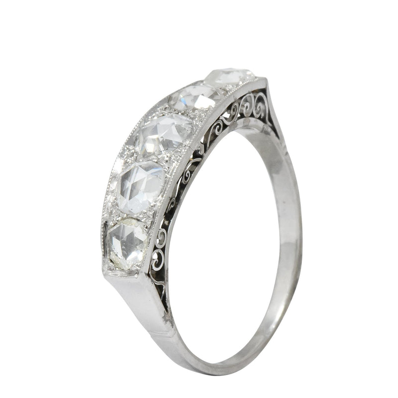 Edwardian 0.55 CTW Rose Cut Diamond Platinum Five Stone Band Ring - Wilson's Estate Jewelry