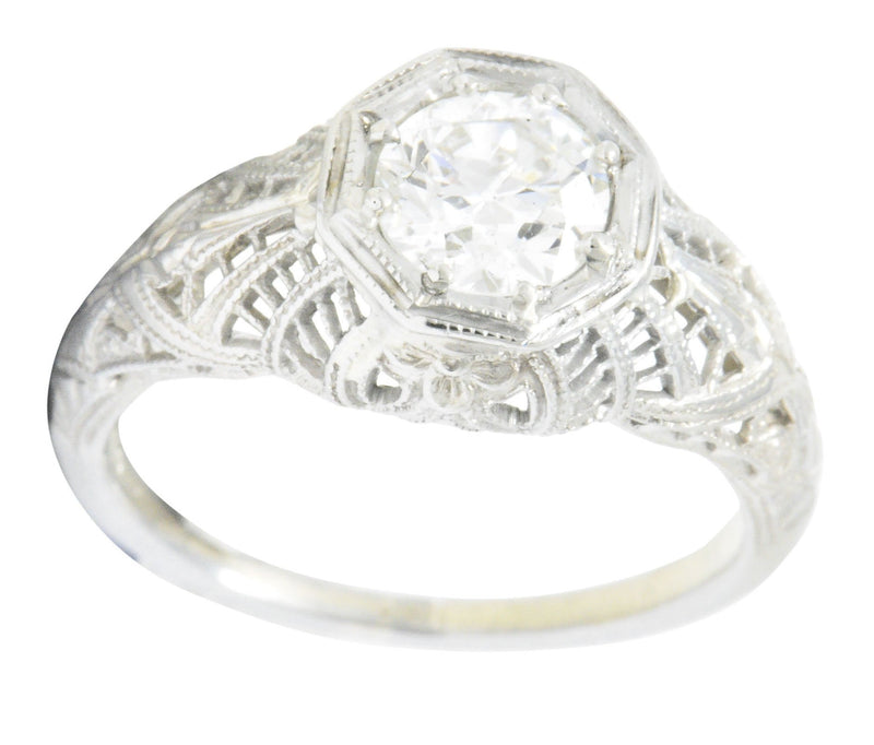 Edwardian 0.63 CTW Diamond 18 Karat White Gold Engagement Ring GIA - Wilson's Estate Jewelry