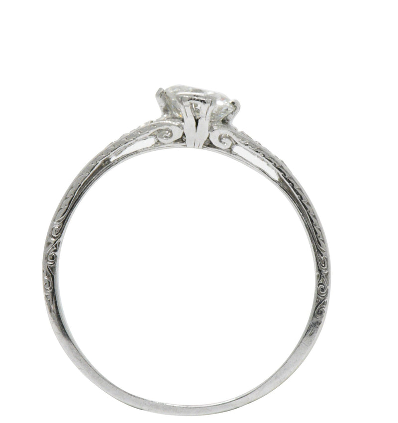 Edwardian 0.63 CTW Diamond And Platinum Engagement Ring GIA Ring Edwardian out-of-stock