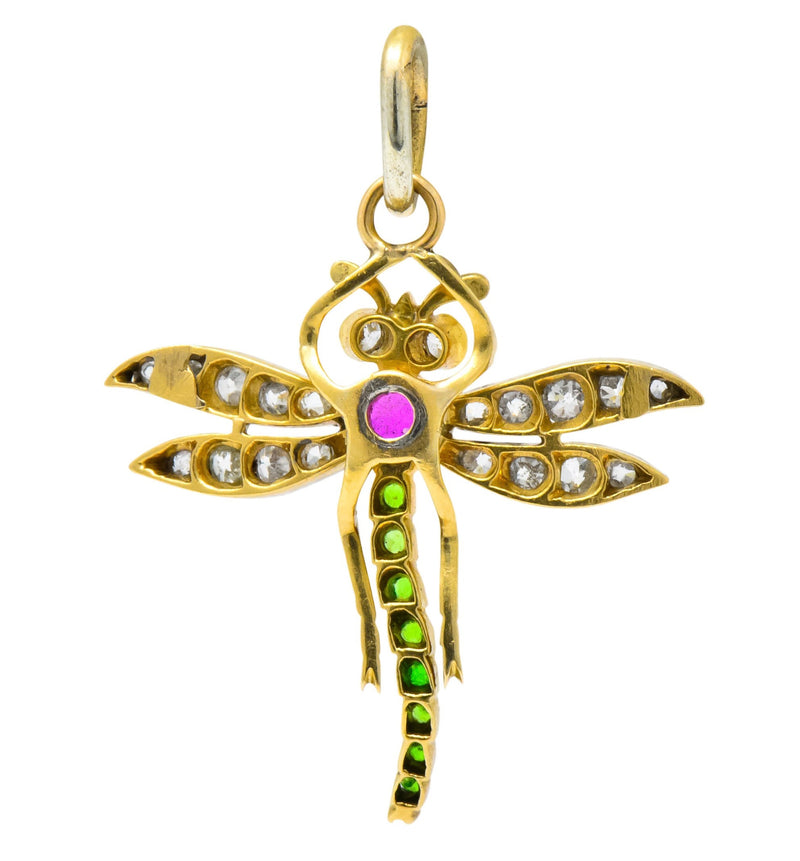 Edwardian 0.75 CTW Diamond Ruby Demantoid Garnet Platinum 18 Karat Gold Dragonfly Charm Pendant - Wilson's Estate Jewelry