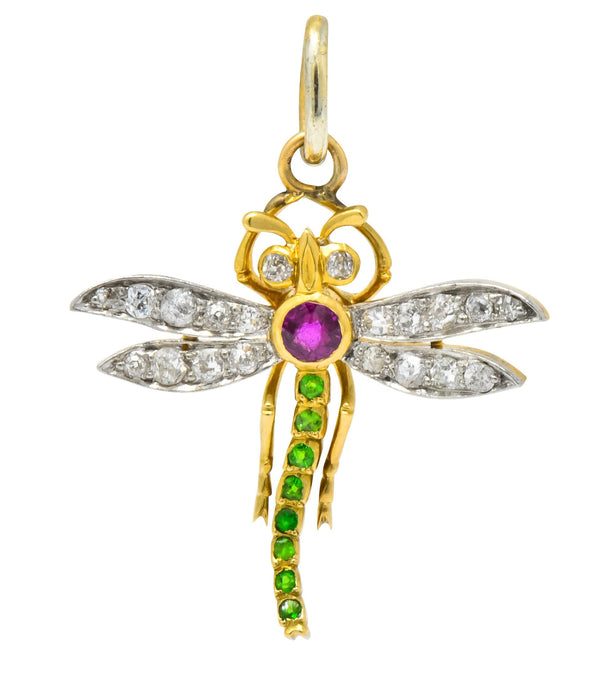 Edwardian 0.75 CTW Diamond Ruby Demantoid Garnet Platinum 18 Karat Gold Dragonfly Charm Pendant Necklace Edwardian out-of-stock