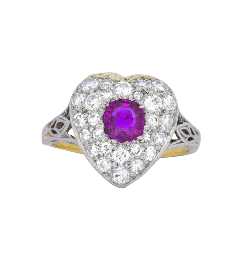 Edwardian 0.90 CTW Burma Ruby Diamond Platinum-Topped 14 Karat Gold Heart Cluster Ring - Wilson's Estate Jewelry