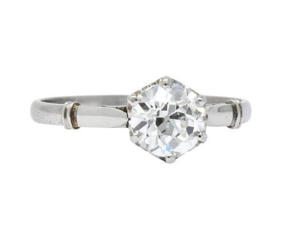Edwardian 0.98 CTW Old European Cut Diamond Platinum Engagement Ring GIA Ring