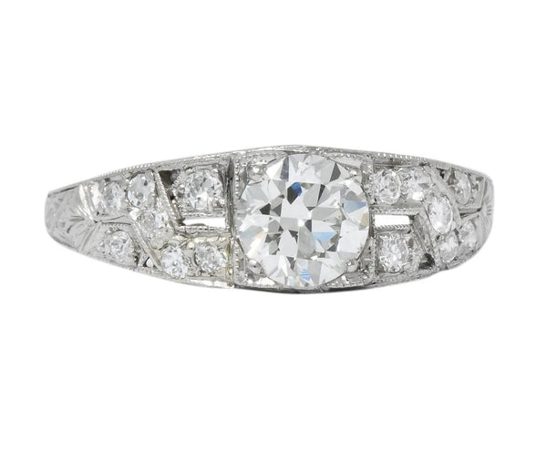 Edwardian 1.00 CTW Diamond Platinum Engagement Ring GIA Ring
