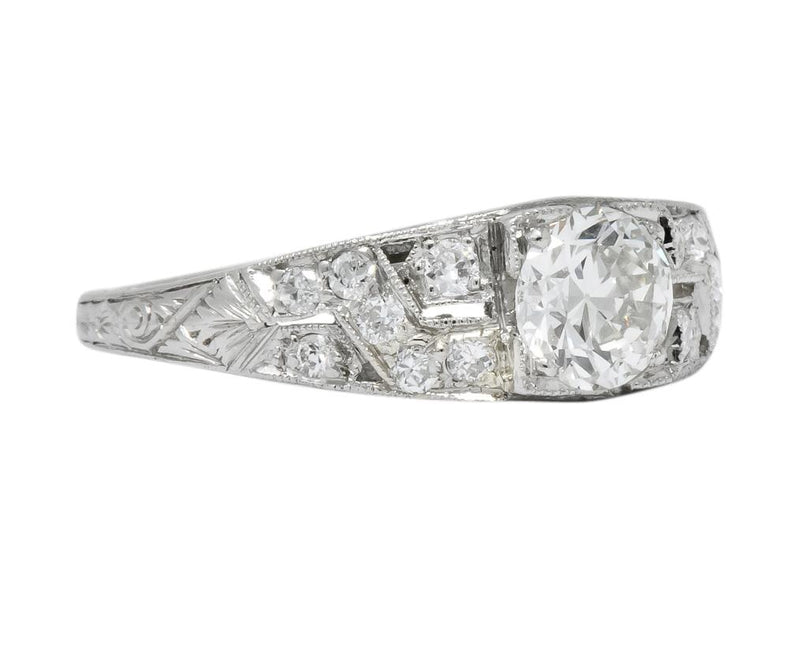 Edwardian 1.00 CTW Diamond Platinum Engagement Ring GIA - Wilson's Estate Jewelry