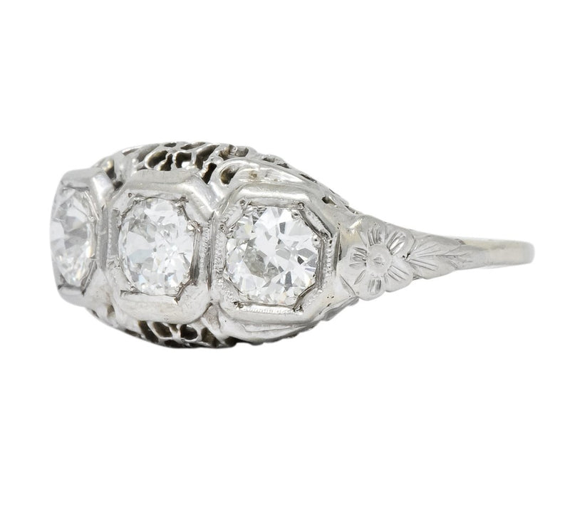 Edwardian 1.00 CTW Diamond Platinum-Topped 14 Karat White Gold Three Stone Ring - Wilson's Estate Jewelry