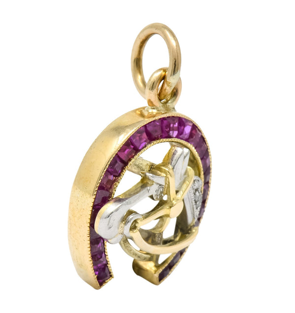 Edwardian 1.03 CTW Ruby Diamond 18 Karat Gold Platinum Horseshoe Horse Charm charm Charm diamond Edwardian rose cut Ruby