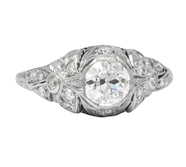 Edwardian 1.07 CTW Old European Cut Diamond Platinum Engagement Ring GIA Ring
