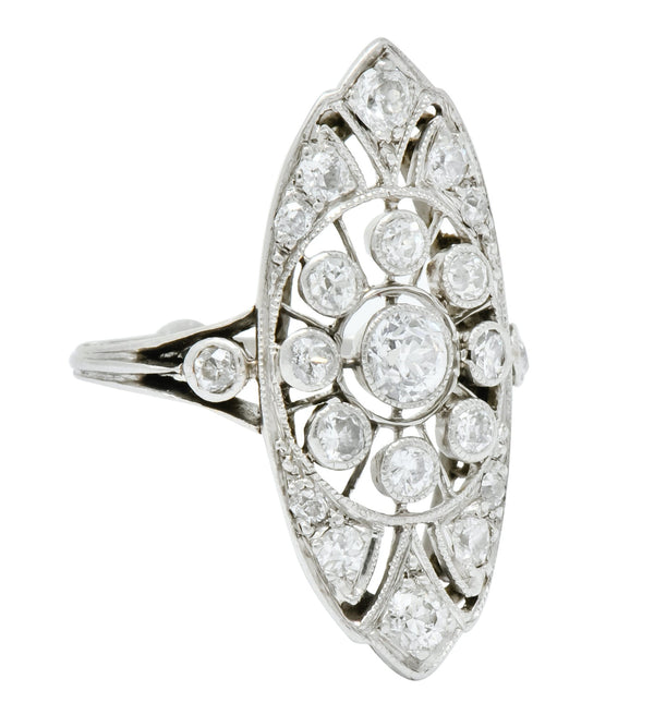 Edwardian 1.10 CTW Diamond Platinum Navette Dinner Ring - Wilson's Estate Jewelry