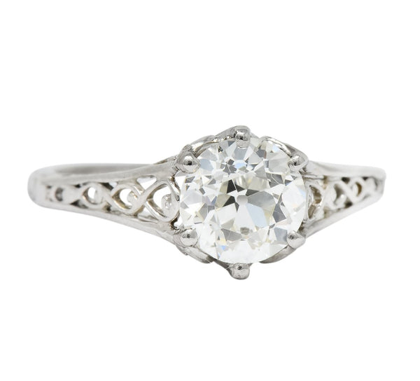 Edwardian 1.13 CTW Diamond Platinum Engagement Ring GIA Circa 1915 Ring