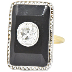 Edwardian 1.20 CTW Diamond Onyx Platinum 14 Karat Gold Ring Ring