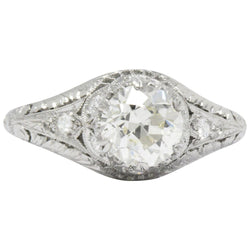 Edwardian 1.23 CTW Diamond And Platinum Engagement Ring GIA Certified - Wilson's Estate Jewelry